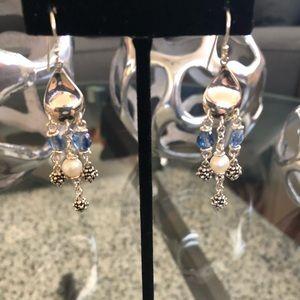 Jewelry - PRICE DROP Silver Earrings Pearl & Blue Bears